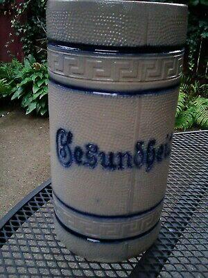 RARE Vintage Stoneware Ceramic Beer Stein / Mug GESUNDHEIT 1 Liter #51