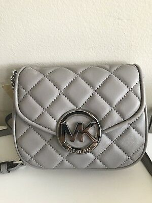 NWT MICHAEL KORS Fulton Quilted Small Leather Crossbody In Gray