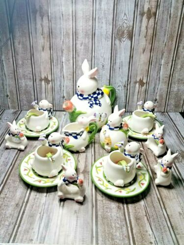 MERCURIES BUNNY TEA SET/ complete service for 4/ 20 piece set/ Dimensional