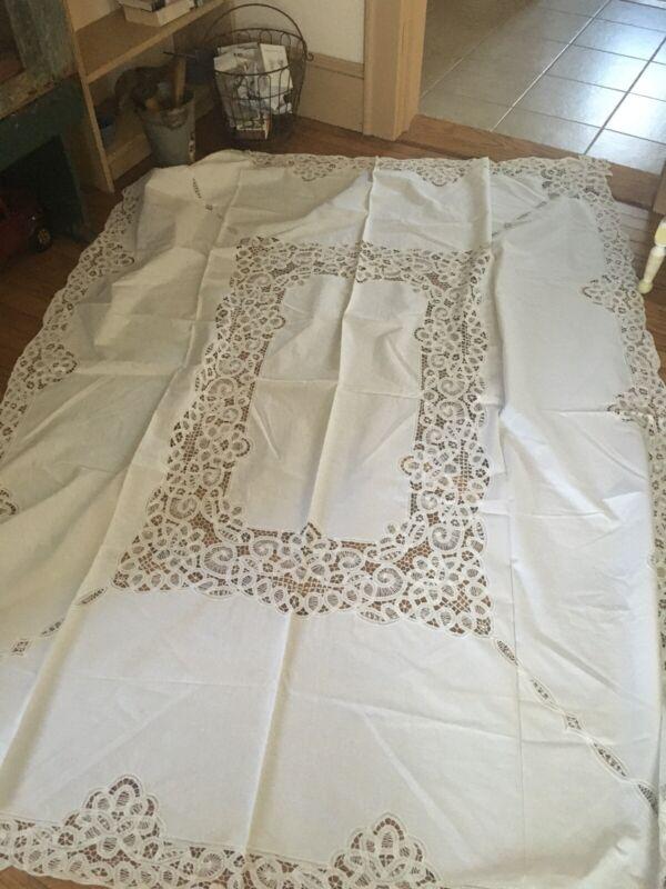 "Beautiful VNTG MADEIRA Hand Cut Tablecloth 66"" X 84"""