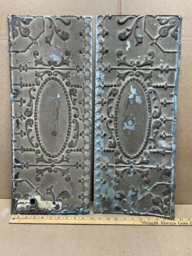 """2pc Lot of 24"""" by 10"""" Antique Ceiling Tin Metal Reclaimed Salvage Art Craft"""