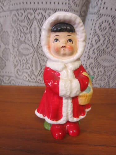Vintage Girl Eskimo in Red Coat Salt OR Pepper Single Shaker
