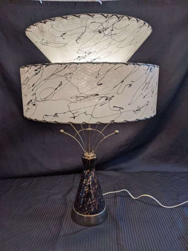 VINTAGE MCM TABLE LAMP SPUTNIK ATOMIC 2-TIER SHADE