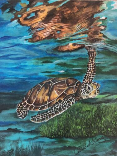 Hand made Swimming Sea Turtle Painting by Isabel Lucas