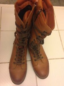 Tall Brown Leather Lace-Up Boots Size 40 (9.5) Peterborough Peterborough Area image 3