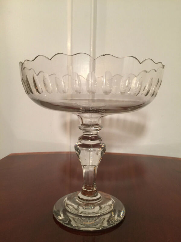 ANTIQUE 19th Century HAND MADE GLASS FOOTED COMPOTE Thumbprint Ruffled Rim