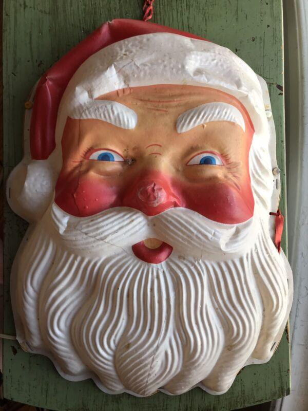Vintage Royalite? Christmas Plastic Santa Face Lighted Wall Hanging