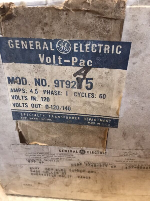 GENERAL ELECTRIC 9T92A5 VARIABLE TRANSFORMER 120V * NEW *