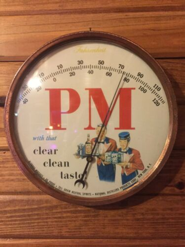 """1940s Advertising PM Whiskey Round 9"""" Thermometer National Distillers, New York"""