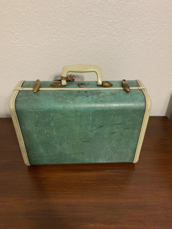 Vintage Samsonite Suitcase Green Luggage Marble No Key Decor Small Case MCM