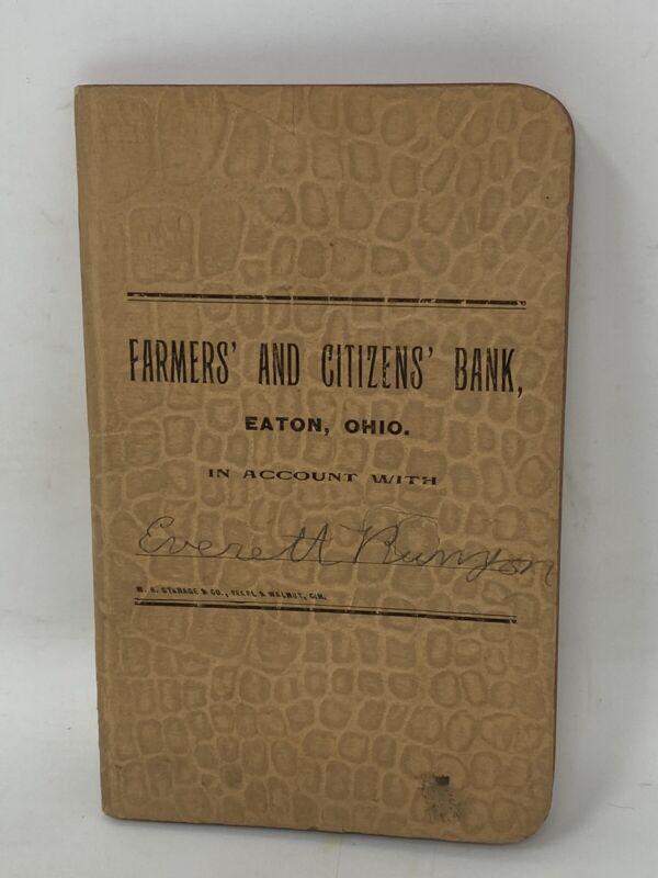 Vintage Farmers & Citizens Bank Eaton Ohio Ledger Book W. H. Stanage Cincinnati