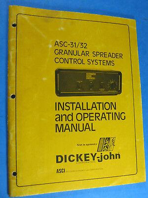 Dickey John Asc 3132 Granular Spreader Control Install  Operating Manual
