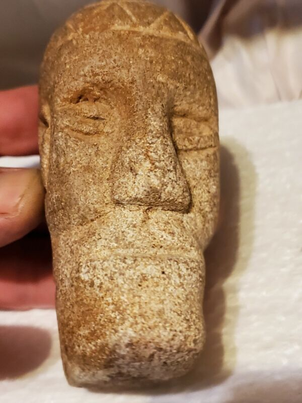 Ancient Native American Effigy Pipe. Very Rare Form! VIKING Effigy?! Pos. WV..