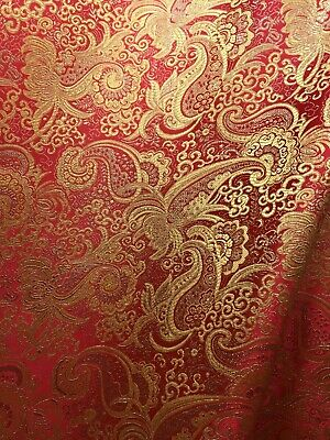 RED GOLD METALLIC PAISLEY BROCADE FABRIC (60 in.) Sold By The Yard](Red Brocade)