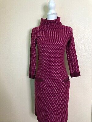 Boden Fuschia Pink Mock Neck Sweater Dress Sz Small Us 6 Polka Dot Pockets