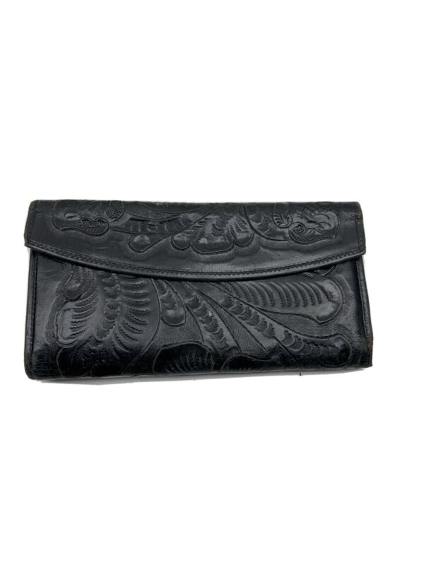 Vintage House Of Oppenheim Wallet Tooled Leather Brown Arve Mexican HEAVY WEAR