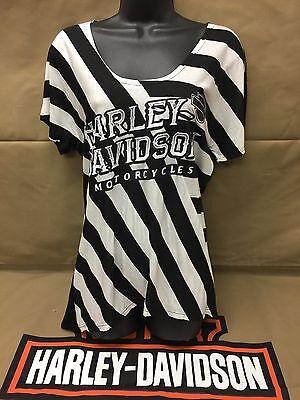 "Harley-Davidson Women's S/S ""cheeky Chic"" black & white striped shirt 1X (plus)"