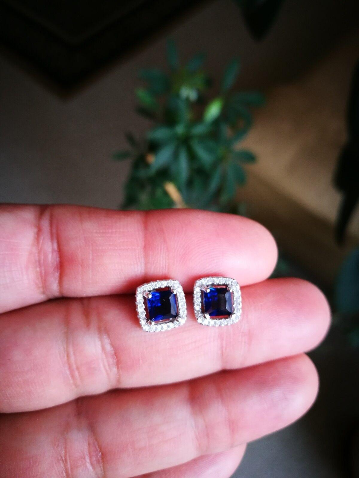 2 Ct Diamond Halo Stud Earrings with Blue Sapphire Women's Studs 14K White Gold 2