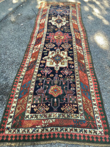 Antique Gorgeous Collectible  Caucasian Bordjalou Kazak Runner 3