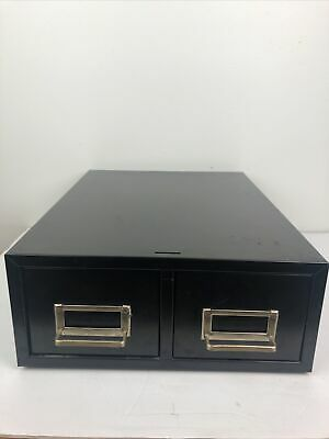 Vintage Two Drawer Metal Desktop Cabinet Chrome Pulls Black File Cabinet Storage