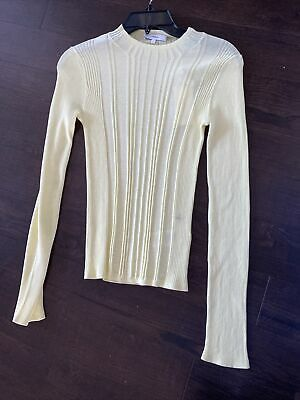 Vince Women's Knit Top Light Yellow Size L Ribbed Variegated Crewneck $195