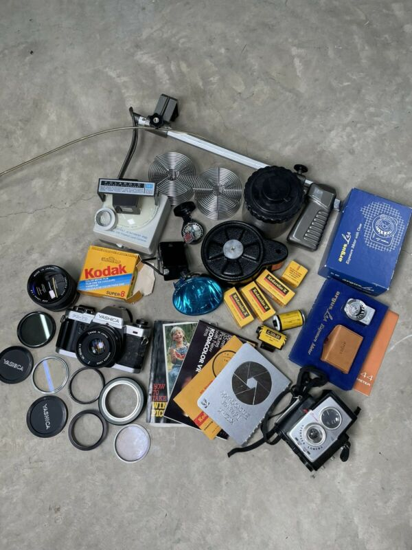 Large Lot Of Vintage Film Photography Items. Yashica FX-70 Film Argus Meter Etc