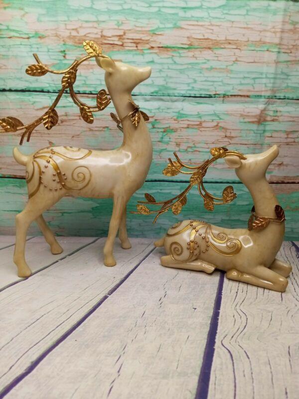 Elegant Faux Marble Gold Embossed Christmas 🎄 Deer Figurine Nature Cabin Decor