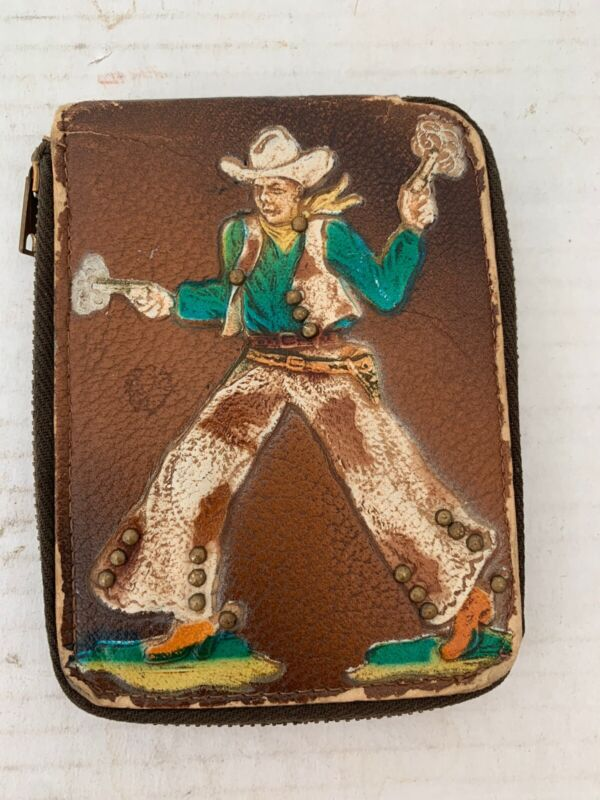 Leather Cowboy Vintage ID Holder Zippered with Studs on Clothes Longhorns