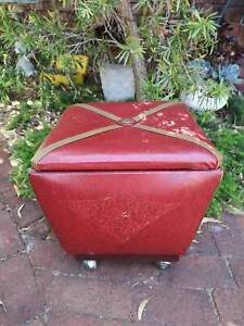 Vintage Retro Footstool On Castors With Storage Compartment