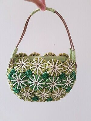 Vintage 60s 70s Flower Straw Shoulder Bag In Green
