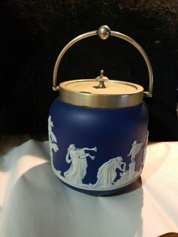 VINTAGE  COBALT BLUE WEDGWOOD BISCUIT BARREL