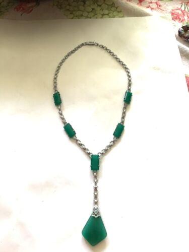Vintage Green Glass Lavalier Necklace Art Deco Jewelry.
