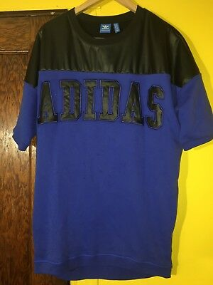 Adidas Shirt Men's Size Small Vintage Street Fashion 1990's Trefoil Leather VTG