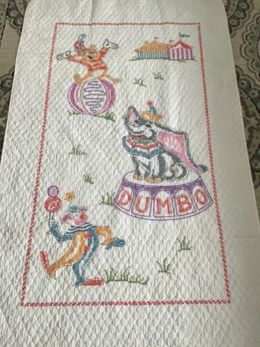 "Vintage ""DUMBO""  Crib  Hand Embroidered/ Crib Coverlet"