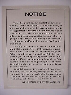 Orig Winchester Factory Notice worker safety cardboard display sign