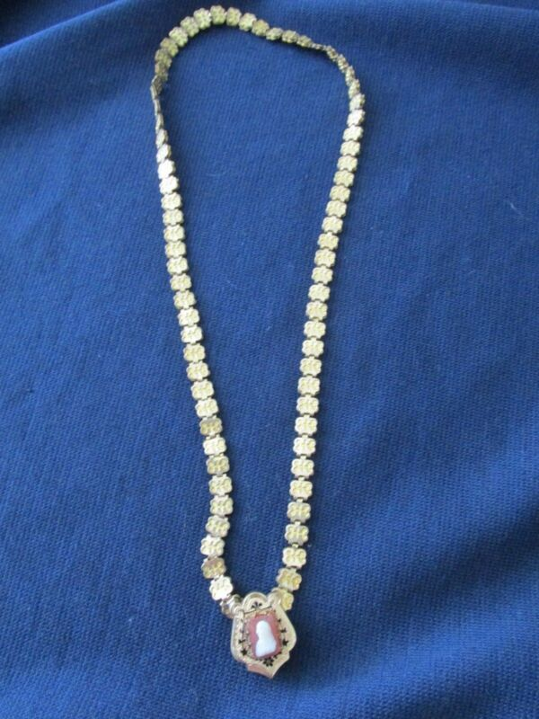 Victorian Book Chain Necklace with Cameo