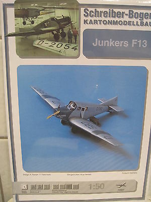 Junkers F13 Flugzeug Schreiber-Bogen Kartonbausatz *NEU* Bastelbogen