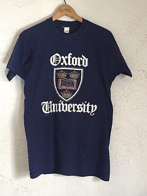 Vintage Screen Stars 80s Oxford University Blue Cotton Retro College T-Shirt S