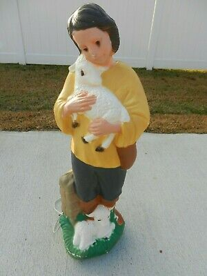 Vintage TPI Plastics Blow Mold Shepherd Boy Lamb Christmas Outdoor Nativity 33""