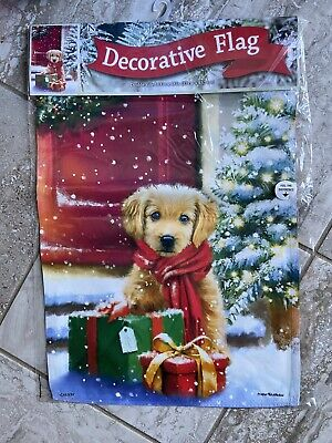 Golden Retriever PUPPY GARDEN FLAG-CHRISTMAS-NEW in PACKAGE-13X18-Awesome gift!