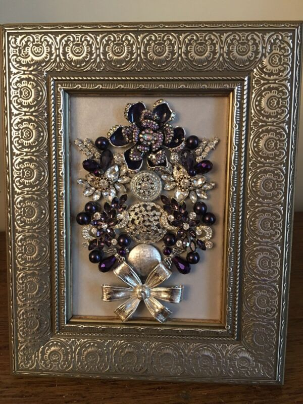 mixed media art, Vintage jewelry art framed