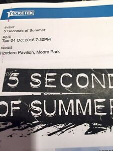 5 Seconds of Summer tix X 5 on 4/10/16 Sydney Lane Cove Lane Cove Area Preview