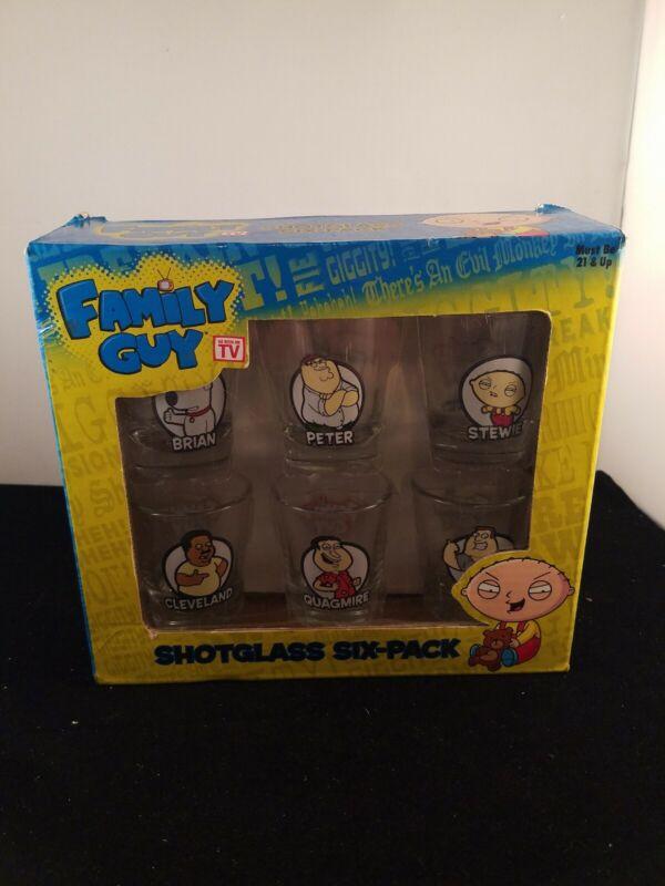 FAMILY GUY--6-PACK SHOT GLASS SET. ORIGINAL BOX PETER, STEW, QUAGMIRE, BRIAN