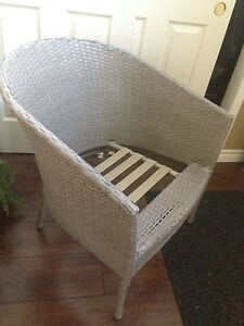 Grey/taupe Patio WICKER CHAIR, needs cushion, only $5