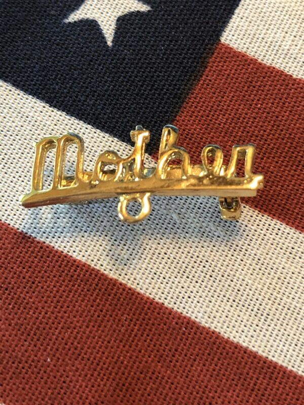 Vintage Mother Pin for Attaching Charm Gold Tone