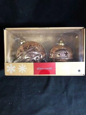Allen + Roth Christmas Prelit Bell Decoration Gold LED Lights NIB Set of 2 ()