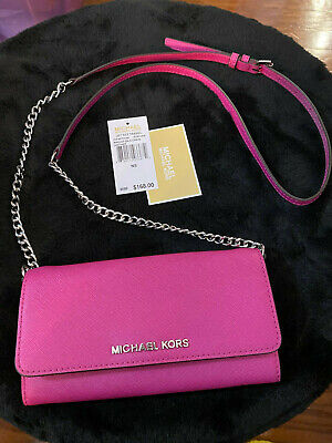 Michael Kors Jet Set Leather Wallet on a Chain- Fuschia *New w/tags*