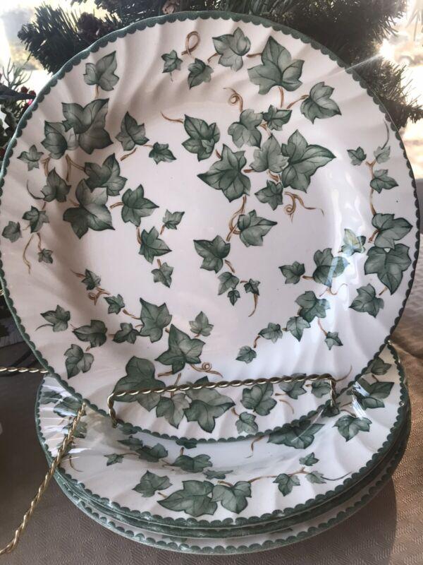 "4 INTERNATIONAL TABLEWORKS England COUNTRY VINE Green Ivy Dinner Plates ~7.5"""
