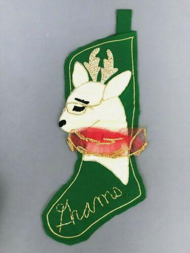 Vtg Green Felt Sequins Beaded Grandma Reindeer Christmas Stocking 26