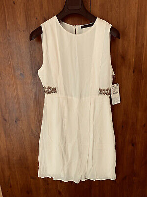 ZARA DRESS Cream Boho Summer Shift S M / UK 10 12 - NEW